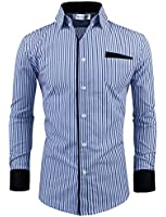 Tom's Ware Mens Classic Slim Fit Vertical Striped Longsleeve Dress Shirt