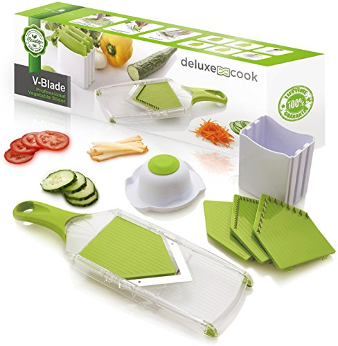 Deluxe Cook V-Blade Mandoline Slicer - Light, Compact, Easy to Use & Clean - Vegetable Slicer - French Fry Cutter - Potato Chip Slicer - Julienne Tool - Plus FREE Recipe eBook (Mandolin French Fries compare prices)