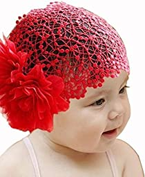 Baby Girl Toddler Cute Lace Wide Headband with Big Flower Stretch Headwear (Red)