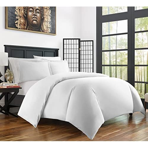 Zen Bamboo Ultra Soft 3-Piece Bamboo Full/Queen Duvet Cover Set - Hypoallergenic and Wrinkle Resistant, White