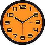 DecoMates Non-Ticking Silent Wall Clock - Color Block (Orange Pumpkin)