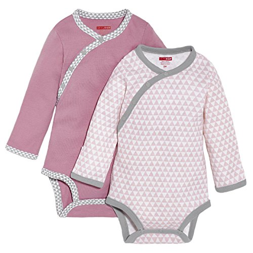 SkipHop Baby Girls' Petite Triangles Side-Snap Long Sleeve Bodysuit, Pink, 3 Months