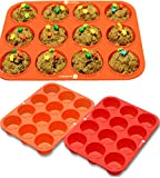DecoBros 12-Cup 2 Pack Silicone Muffin Cupcake Baking Pan Mold, Cup:2.7oz.