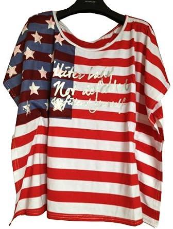 Women 39 S Girls Ladies Bat Sleeve American Flag T Shirts