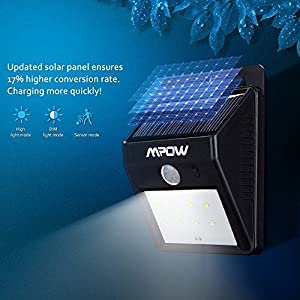 Mpow Solar Powerd Wireless LED Security Motion Sensor Light, Outdoor Wall/garden Lamp / Motion Sensor-Detector Activated / For Patio, Deck, Yard, Garden, Home, Driveway, Stairs, Outside Wall, With Dusk to Dawn Dark Sensing Auto On / Off Function(2 Pack) f