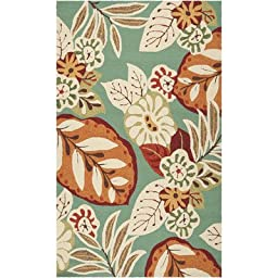Surya Storm SOM-7714 Contemporary Hand Hooked 100% Polypropylene Olive 2\' x 3\' Floral Accent Rug