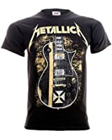 Official T Shirt METALLICA Black HETFIELD Iron Cross Guitar All Sizes