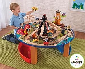 Kidkraft 17978 - Dinosaurier Eisenbahn-Set mit Tisch