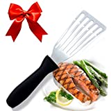 BLACK FRIDAY SALE! Stainless Steel Fish Spatula, Professional Slotted and Angled Turner, Kitchen Tool, Brilliant Seafood and Baking Cooking Utensil, with 6.5 Inch Blade, Comfortable Ergonomic Handle