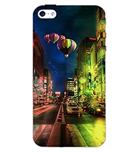 PrintDhaba PARACHUTE CITY D-6124 Back Case Cover for APPLE IPHONE 5S (Multi-Coloured)
