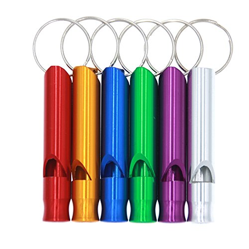3-Bears Emergency Survival Aluminum Whistle Key Chain for Hiking Camping Climbing(Large Size, Red,Yellow,Blue,Green,Purple,Silver, Pack of 6) (Whistle Chain compare prices)