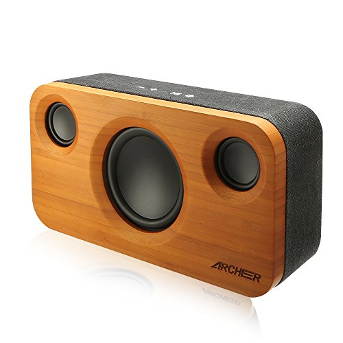 ARCHEER 25W Bluetooth Speakers with Super Bass, Charging Port Upgraded, Bamboo Wood Home Speaker with Subwoofer