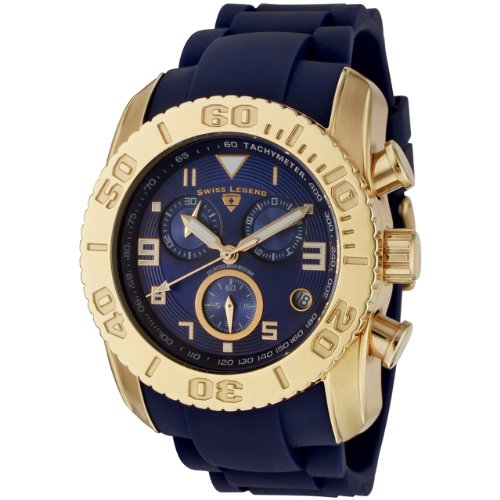 Swiss Legend Men's 20065-YG-03 Commander Collection Chronograph Blue Rubber Watch