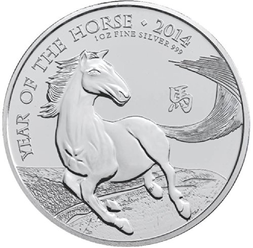 2014 Uk British Lunar Series Year Of The Horse 1 Ounce Silver Dollar Mint Uncirculated