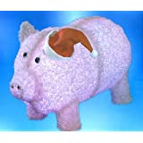 """28"""" Pre-Lit LED Outdoor Chenille Pig in Santa Hat Christmas Yard Art Decoration"""