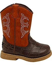 Double Barrel Infant-Boys\' Lil\' Bronc Boot Square Toe Brown 2 US