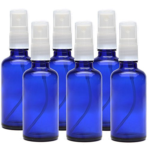 Kaith 2 Oz Glass Spray Bottle with Recipes Guide.Set of 6 Cobalt Blue Fine Mist Atomizer. Empty Containers for Misting Aromatherapy, Essential Oils, Cleaning, Room Sprays. (Blue) (Foaming Pump Essential Oil compare prices)