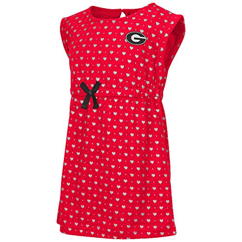 Colosseum Toddler Girl's Collegiate Heartbeat Dress (4T, Georgia)