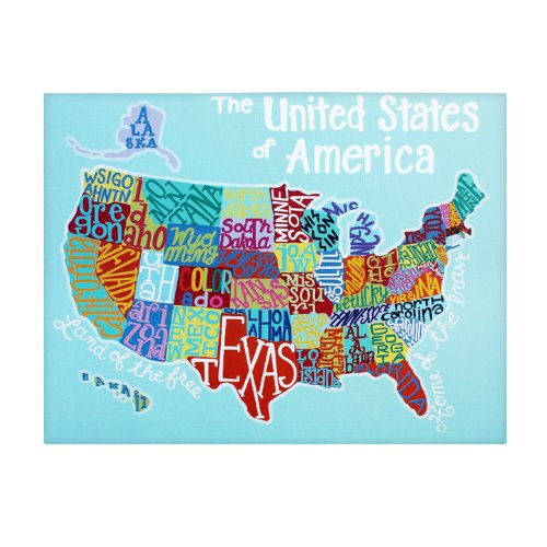 Large Us Map: Home Decor Canvas Wall Art For Kids, Classroom, Playroom, And Cafe