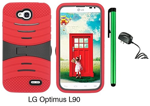 Premium Ucase With Kickstand Cover Case For Lg Optimus L90 (D415) (Us Carrier: T-Mobile) + Travel (Wall) Charger + 1 Of New Assorted Color Metal Stylus Touch Screen Pen (Red / Black)