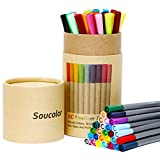 Soucolor Fineliner Color Pen Set, Set of 60 Assorted Colors, 0.4mm Colored Fine Liner Sketch Drawing Pen, Porous Point Marker with Pencil Holder- Perfect for Coloring Books and Bullet Journal