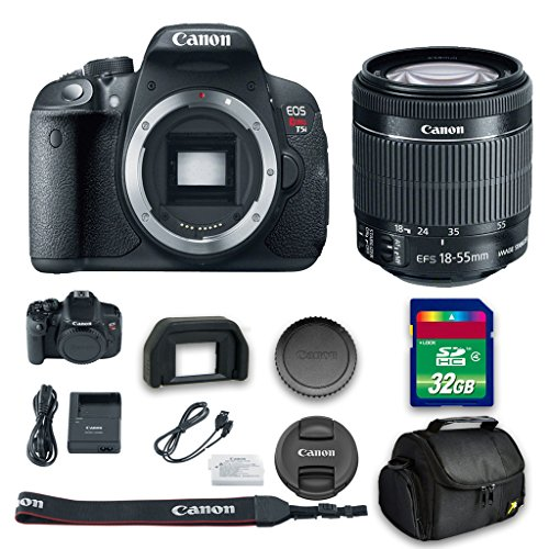 Canon T5i DSLR Camera + 18-55mm f/3.5-5.6 IS STM Lens + 32 GB High Speed Memory Card + Camera Case + All Original Accessories Included - International Version (Filming Accesories compare prices)