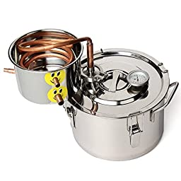 KINGSO 2 Gal / 8L Water Wine Alcohol Distiller Stainless Boiler Wine Making Equipment Kit