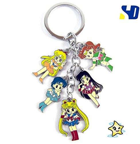 SUNKEE Nuovo Anime Sailor Moon Cosplay 5 Carino Portachiavi Ciondoli di Metallo