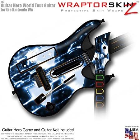 Radioactive Blue Skin fits Band Hero, Guitar Hero 5 & World Tour Guitars for Nintendo Wii (GUITAR NOT INCLUDED) by WraptorSkinz
