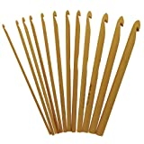 Crochet Premium Collection 12 PCs Bamboo Crochet Hooks US 2/C (2.75mm) - US N/P 15 (10mm) ~ StitchBerry