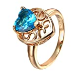 Snowman Lee Queen Style 18k Rose Gold Plated Blue Zirconia Stone Heart Baslls Lover Rings (8)