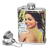 Anne Taintor Flask, Golly! Liquor is Quicker!