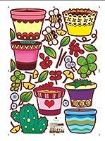Ambiance Live Vinilo Decorativo Flowerpot and cactus Multicolor