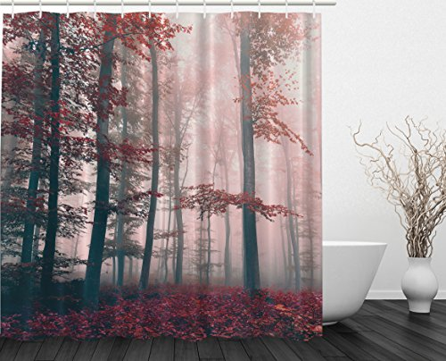 30 OFF Woodsy Shower Curtain Red Mystic Forest Mystical