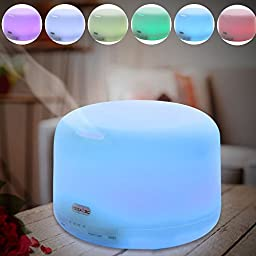Essential Oil Diffuser,Noza Tec Aromatherapy Ultrasonic Mist Air Humidifier Color-changing LED Light
