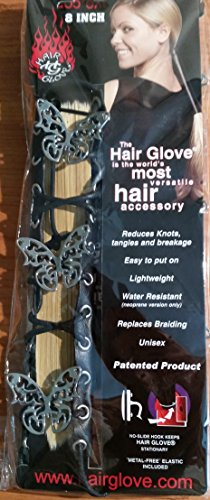 """Hair Glove 8"""" Black Leather Lace-up w/ Metal Tribal Butterfly Pony Tail Holder 31855"""