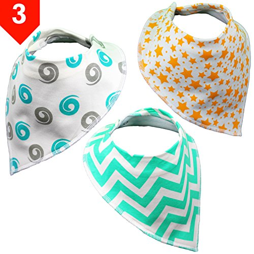 Unique Organic Cotton Baby Gifts | Drool Bandana Bibs by BabyBecca | For Newborn And Toddler Teething And Drooling Boys & Girls | Shower Gift, 3 Pack