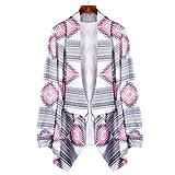 Sunnywill Geometrischer gedruckt lange Ärmel Baumwolle Kimono Strickjacke Mantel vertuschen Tops für Damen Mädchen (L)