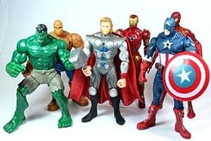 Shop Direct Marvel DC Avengers Lot de 6 figurines de superhéros Hulk