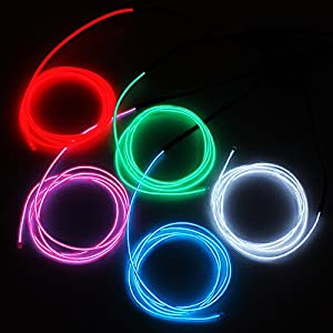 Zitrades El Wire White Blue Red Green Pink Super Bright Portable El Wire Kits With AA Battery Inverter For Burning Man Halloween Christmas Party Decoration