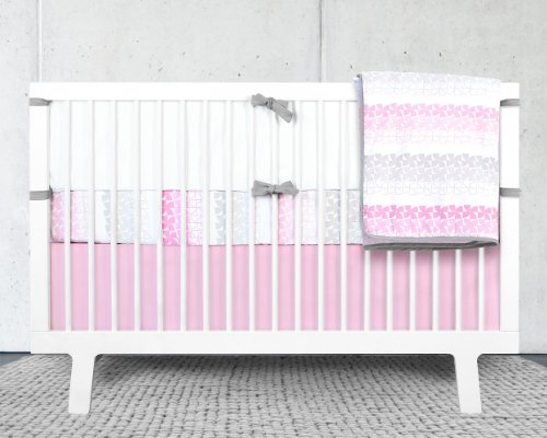 Olli & Lime Logan Crib Bedding Set, Pink Skirt, 4 Piece