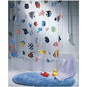 spirella fish peva clear plastic shower curtain the swiss design fashion shower. Black Bedroom Furniture Sets. Home Design Ideas