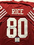 Autographed/Signed Jerry Rice San Francisco 49ers Red Football Jersey Beckett BAS COA