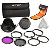 K&F Concept 52mm 6pcs UV CPL FLD Close-up+1+2+4+10 Lens Accessory Filter Kit UV Protector Circular Polarizing Filter for Nikon D5300 D5200 D5100 D3300 D3200 D3100 DSLR Cameras + Microfiber Lens Cleaning Cloth + Petal Lens Hood + Center Pinch Lens Cap + F