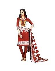 Siddhi Cotton Red & White Printed Salwar Suit & Dupatta Material