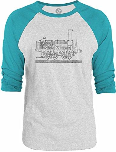 Big Texas Steam Tram Blueprint 3/4-Sleeve Raglan Baseball T-Shirt, White / Turquoise, 2XL (Steam Tram compare prices)