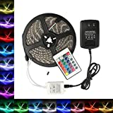 B2ocled LED RGB Flexible Strip Lights Kit SMD 5050 16.4Ft(5M) 300leds Waterproof Color Changing with 24key IR Controller and 12V 2A Power Supply Adapt