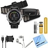 Fenix 3 Multisport Training GPS Watch With Heart Rate Monitor Yellow Band Bundle Includes Fenix 3 Gray Watch With...