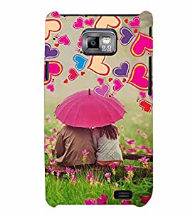PrintVisa Romantic Love Couple Hearts 3D Hard Polycarbonate Designer Back Case Cover for Samsung Galaxy S2
