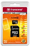 Transcend - Flash memory card ( microSDHC to SD adapter included ) - 4 GB - C...